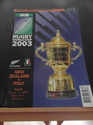 2003 World Cup New Zealand V Italy   Rugby Union Programme