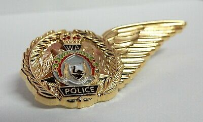 RARE WA Police 'PolAir' Helicopter Half Wing. 50mm 3D enamel.