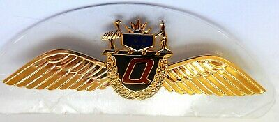 Qantas Pilot Wing badge. (Authentic) 100mm Shiny Gold plate with backing plate