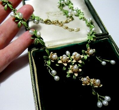 Beautiful Vintage Style Art Deco Enamelled REAL PEARL Orange Blossom NECKLACE