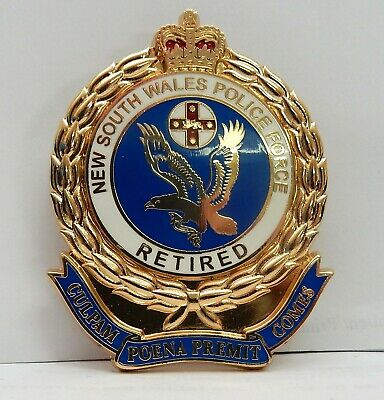 NSW Police 'Retired' 70mm Enamel Plaque Gold plated Badge