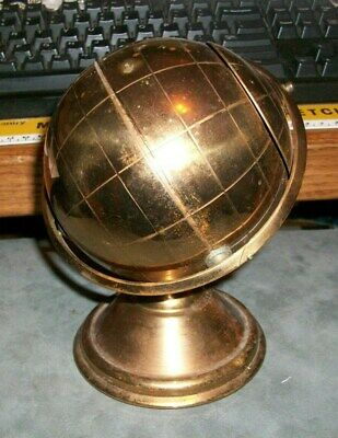 Vintage Brass globe ash tray mid- century retro moving compartment spaceage