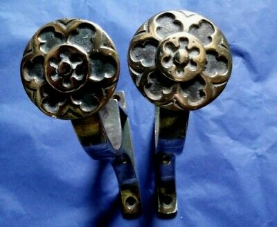 Pair Antique Victorian Brass Curtain Pole Brackets Gothic Revival