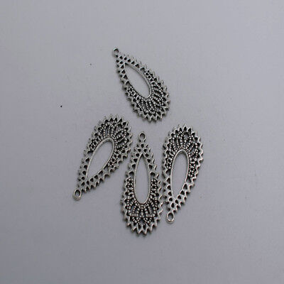 10pcs Antique silver plated oval flower charm pendant T0078