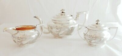 Antique Chinese Export Solid Silver Tea Set, 4 Claw Dragons, Tu Hoop,  c1830