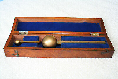 Antique Victorian Brass Hydrometer by A. Dudgeon & Co. No. 3212 in Mahogany Box