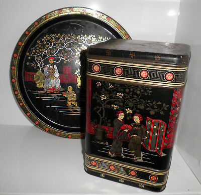 1950s VINT ORIENTAL MADE IN BRITAIN LARGE HINGED LID TEA TIN + MATCHING TRAY