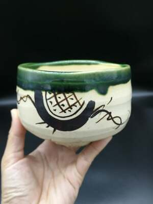 Japanese Green Oribe Ware Tea Cup Pottery