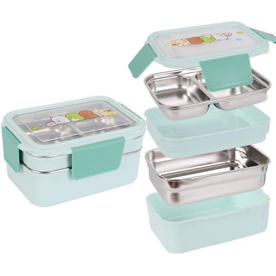 Two Tiers Kids Lunch Box Bento Box Stainless Steel Food Container Storage Boxes