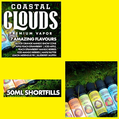 COASTAL CLOUDS. 50ml Premium E-Liquid. 0mg. Including Free Nic For 60ml at 3mg.