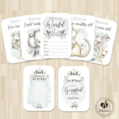 Unisex Milestone Cards, Australian Animals,  Photo props, 40 cards, 250gsm