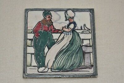 Early Carter & Co Poole Pottery Tile Dutch Scene by J Roelants  Handpainted