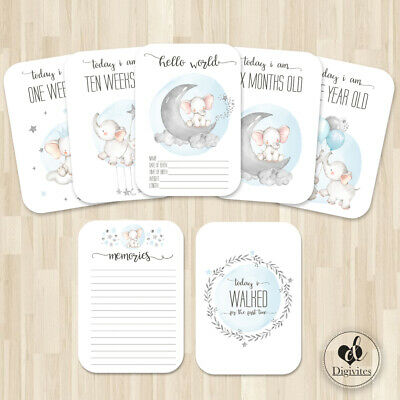 Baby Boy Milestone Cards, Elephants, Cloud, moon, Photo props, 40 cards, 250gsm