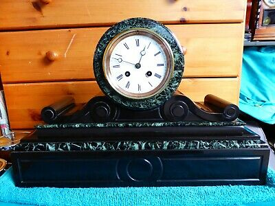 Antique Japy Freres Slate And Marble Mantle Clock, Very Good Condition, Working.