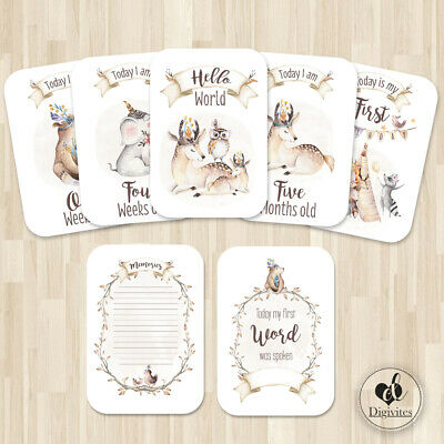 Baby Milestone Cards, Woodland, animals, Photo props, 40 cards, 250gsm, Unisex