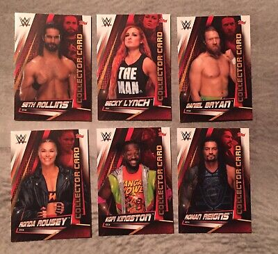 wwe slam attax universe set of 6 collector cards roman reigns lynch rollins +++