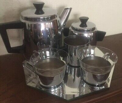 Vintage Ensemble Duo Tasses Cafetiere Pot A Lait Sucre Inox