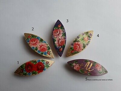 Wooden Hand Made & Painted Tatting Shuttle With Painting
