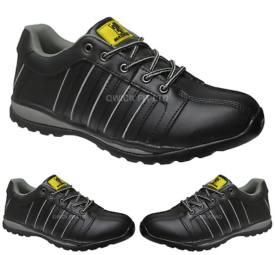 New Mens Black Lightweight Steel Toe Cap Safety Work Trainers Ladies Shoes Sizes