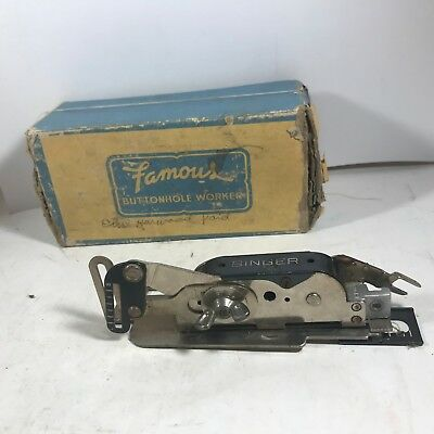 Vtg SINGER Sewing Machine Buttonhole Attachment 121795 Featherweight with Box