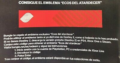 Destiny 2 Sunset Echoes EMBLEM CODE EXCLUSIVE  MGW19 XBOX/PC/PS4 Sameday