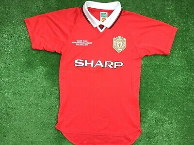 Manchester United Score Draw 1999 Champions League Final Shirt Small Adult