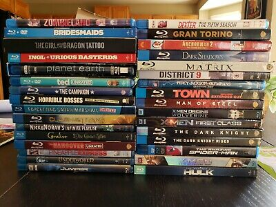 32 Blu Ray Lot. Superheroes, Matrix, Xmen, Spiderman, Hangover. great condition