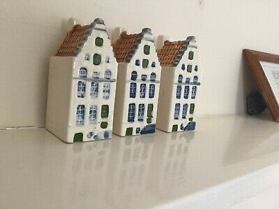 3 Handpainted Delft Blue Dutch Houses In Amsterdam BOLS KLM type Holland