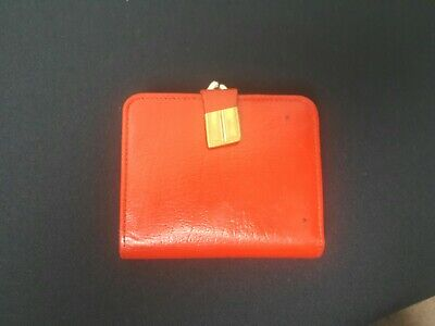 British Real Leather Red Vintage Retro Coin Purse Gold Clasp