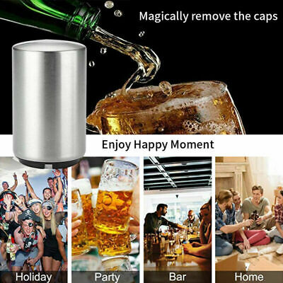 Magnetic Stainless Steel Automatic Bottle Opener Bar Beer Soda Cap Opening Tool