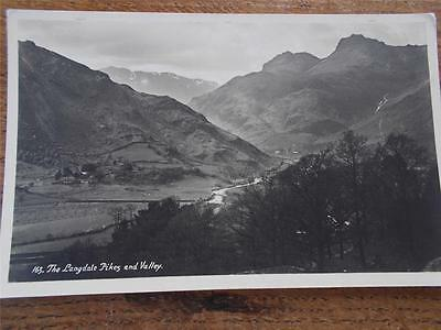 Vtg B/W Real Photo Postcard THE LANGDALES PIKES AND VALLEY Cumbria Lake District