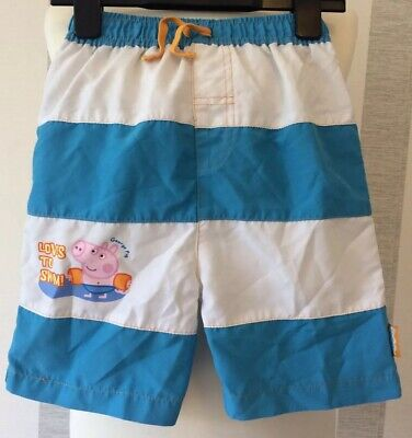 Boys PEPPA PIG Blue And White Striped Swimming Shorts In Age 8–9 Years Old