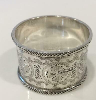 Extremely ornate English sterling silver napkin ring w rope edges made in 1913