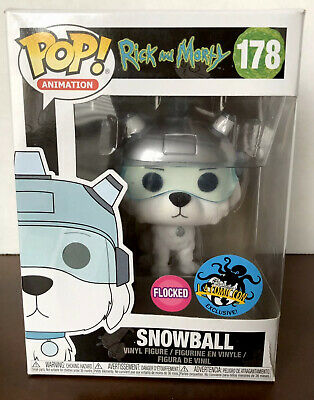 Funko Pop! Animation #178 SNOWBALL Rick and Morty LACC 2017 Flocked