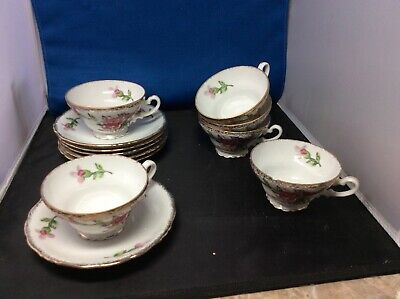 Vintage Rose And Gold Trim Tea Cups And Saucers(6)