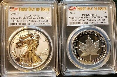 2019 Pride Of Two Nations 2-Coin Set Pcgs Fdoi Rev Pf 70 & Modified  Pr70 Us Set