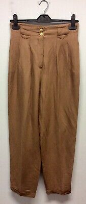 1980s Coffee Coloured Linen Trousers UK 10