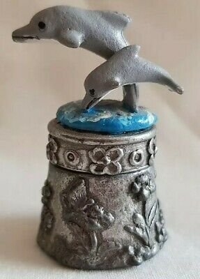 Pewter Stephen Frost Hand Painted Pair Of Dolphins Thimble