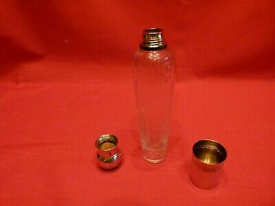 GORGEOUS 19th CENTURY FRENCH SOLID SILVER & GLASS LADIES SIP FLASK & CUP.LOVELY.