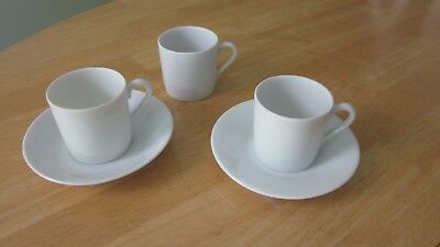 Espresso Cup & Saucer Set Lot of 2+ Sets Porcelain China White 2 Saucers 3 Cups