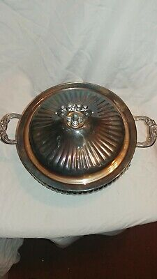 Vintage Leonard Silverplate Covered Footed Serving Bowl Dish