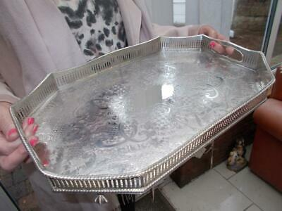 Superb Silver Plated Octagonal Gallery Tray Elegant Ball & Claw Feet Lovely