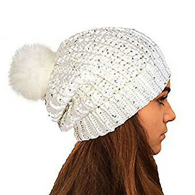 Quality Ladies/Girls Chunky Knit Slouch Beanie With Sparkle Accent Sequins