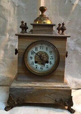 ELEGANT ANTIQUE FRENCH MARBLE MANTLE CLOCK  BOZZO, ANGERS c1890