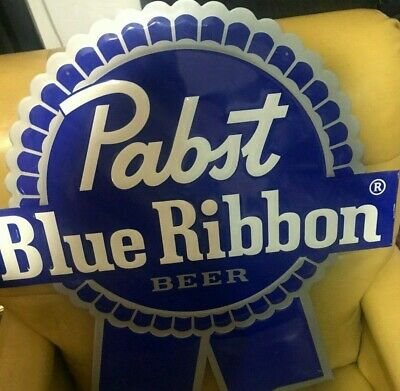 """Pabst Blue Ribbon Beer Brewing Company Embossed Tin Metal Sign 24"""" x 26"""""""