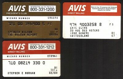 AVIS Car Rental Direct Billing & President's Club Credit Cards - 3 Different