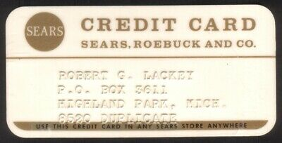 Vintage Sears Roebuck & Co (Scarce DUPLICATE) Princess Size Merchant Credit Card