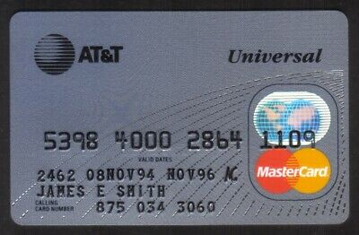 AT&T Universal Bank MasterCard Credit Card Exp NOV96
