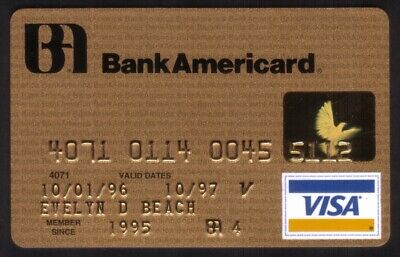 BankAmericard (Bank of America) Gold VISA Credit Card Exp 10/97