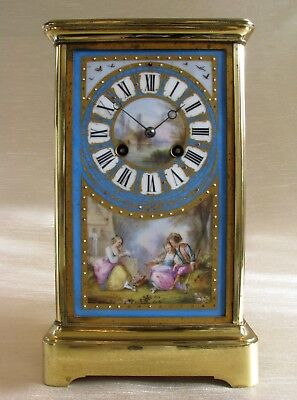 19thC Brass and Hand Painted Sevres Porcelain Carriage Clock